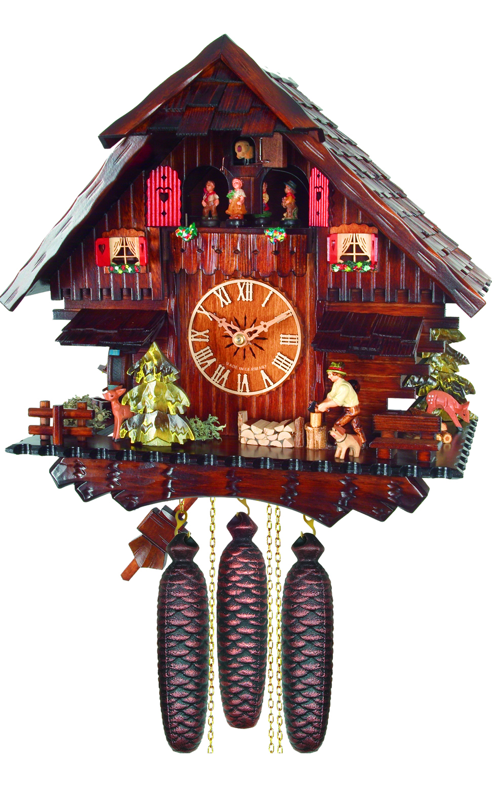 474-8MT 8-Day Chalet Wood Chopper Cuckoo Clock with Music