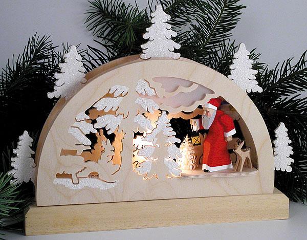 021-wm Winter Scene Light Arch with Santa