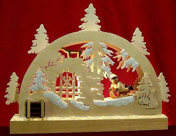 042-b2 Winter Scene Light Arch with Sledder