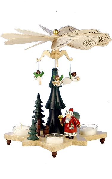 33-303 Santa Pyramid with Angels and tea light