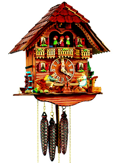 mt6426-9 Musical Chalet with Boy & Girl on Seesaw
