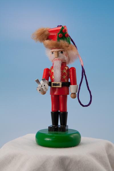 s5000b 12 Days of Christmas Two Turtle Doves Santa -- Mini Nutcracker Ornament