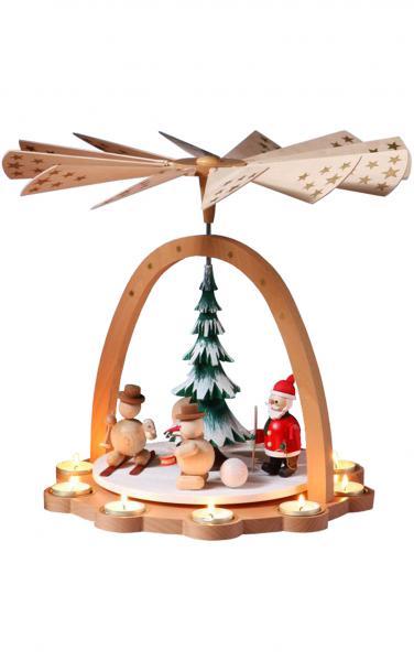 16271 Skiing Santa and Snowmen Pyramid
