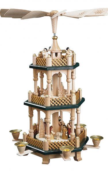 16732 Pyramid - 3 Green tiers - Nativity Scene