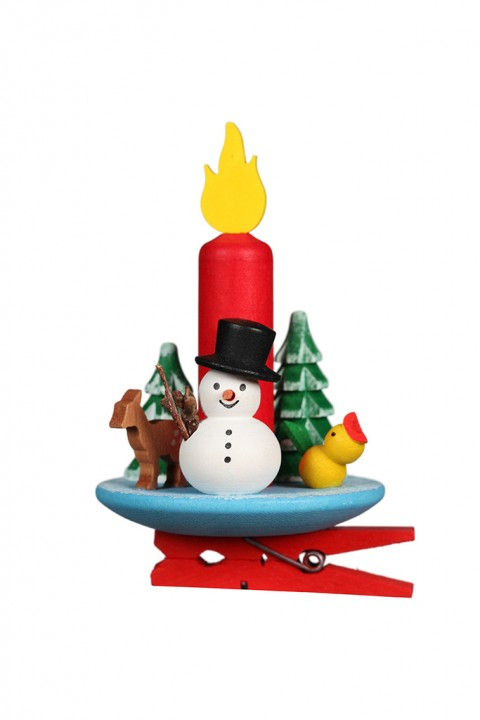 10-0649 Candle with Snowman Clip